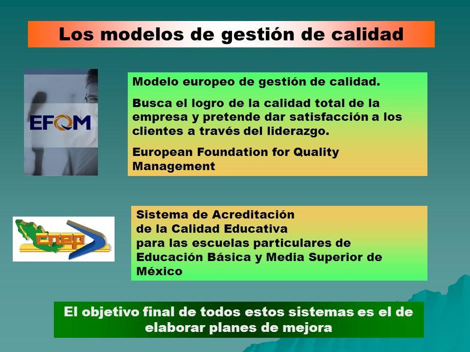 Los modelos de gestión de calidad El objetivo final de todos estos sistemas es el de elaborar planes de mejora Modelo europeo de gestión de calidad. B