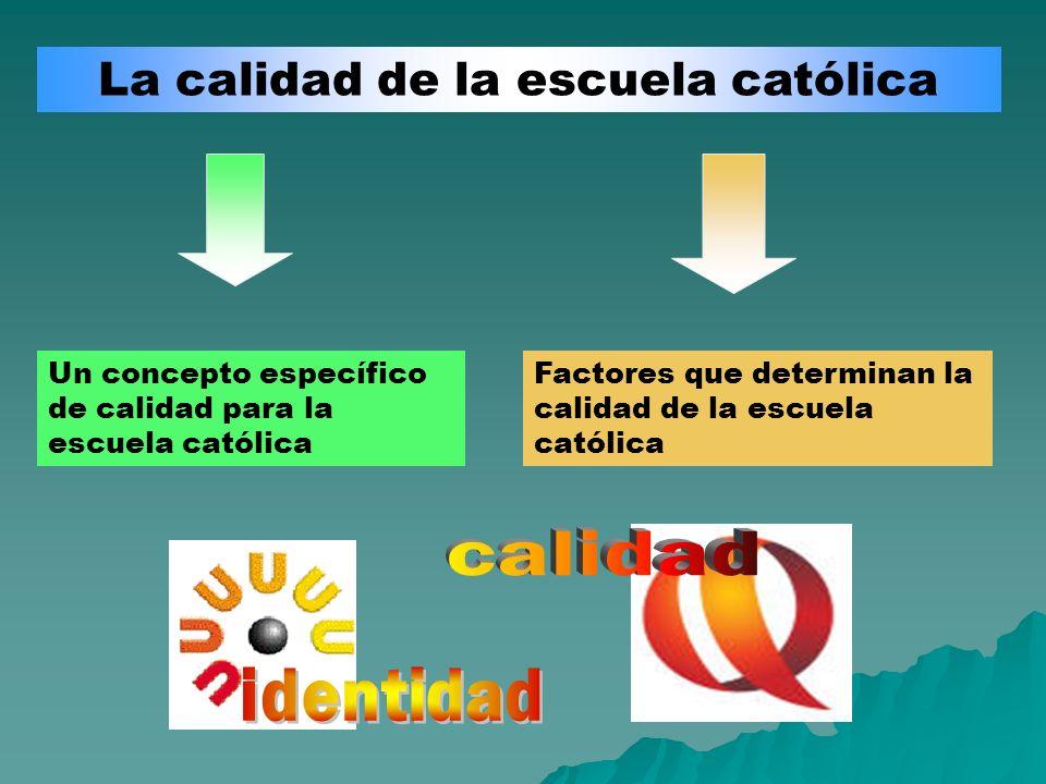 La calidad de la escuela católica Un concepto específico de calidad para la escuela católica Factores que determinan la calidad de la escuela católica