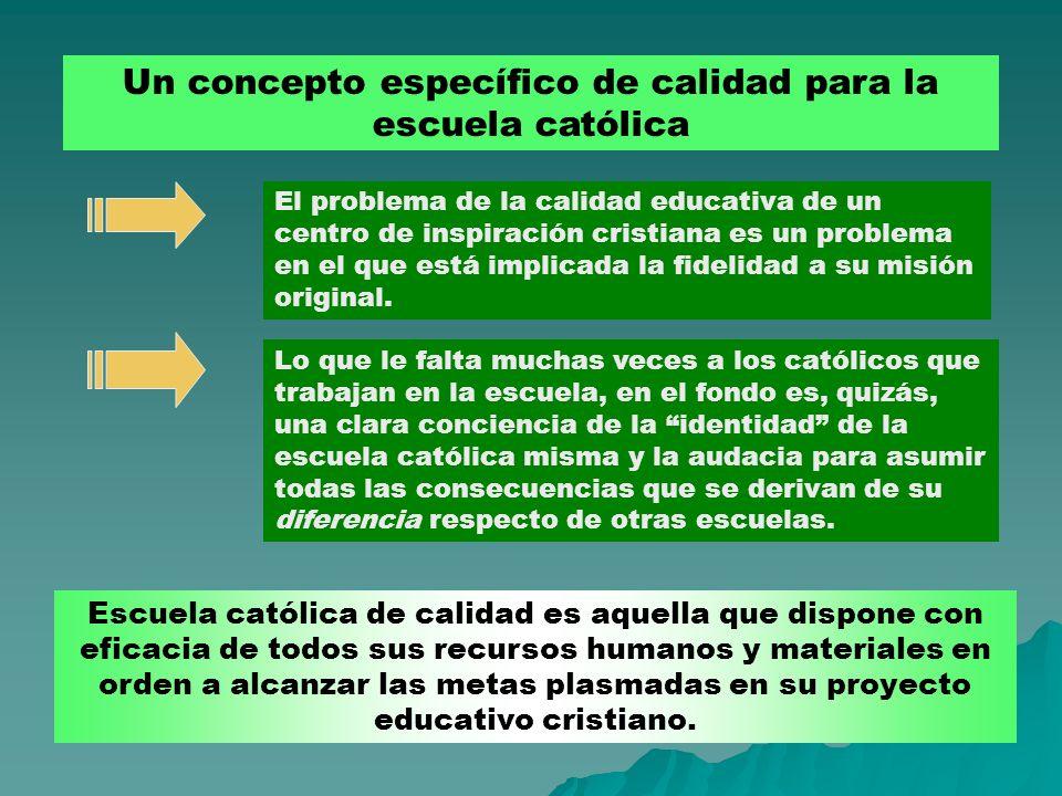 Un concepto específico de calidad para la escuela católica El problema de la calidad educativa de un centro de inspiración cristiana es un problema en