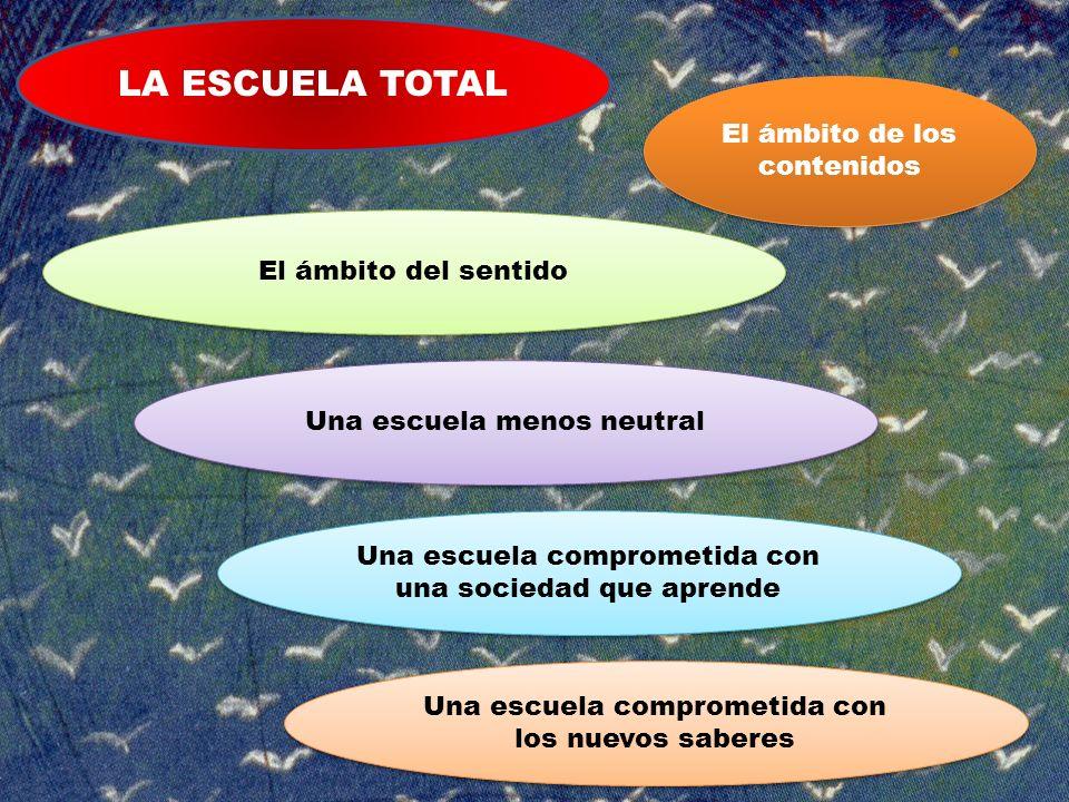 LA ESCUELA TOTAL El ámbito de los contenidos El ámbito del sentido Una escuela menos neutral Una escuela comprometida con una sociedad que aprende Una