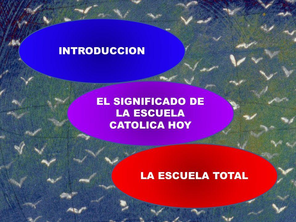 INTRODUCCION EL SIGNIFICADO DE LA ESCUELA CATOLICA HOY LA ESCUELA TOTAL