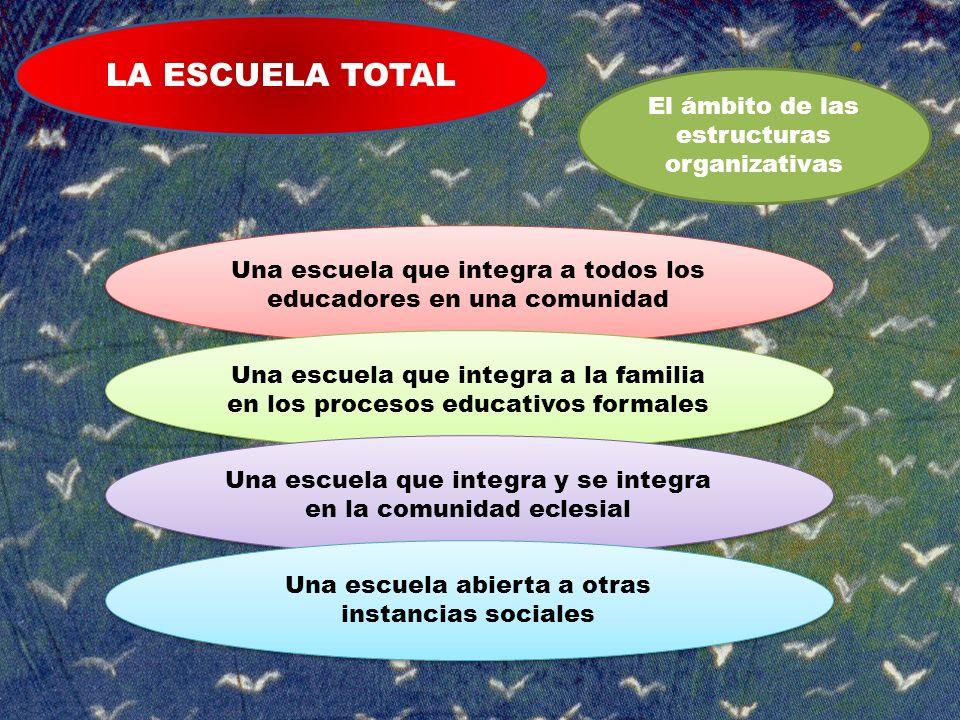 LA ESCUELA TOTAL El ámbito de las estructuras organizativas Una escuela que integra a todos los educadores en una comunidad Una escuela que integra a