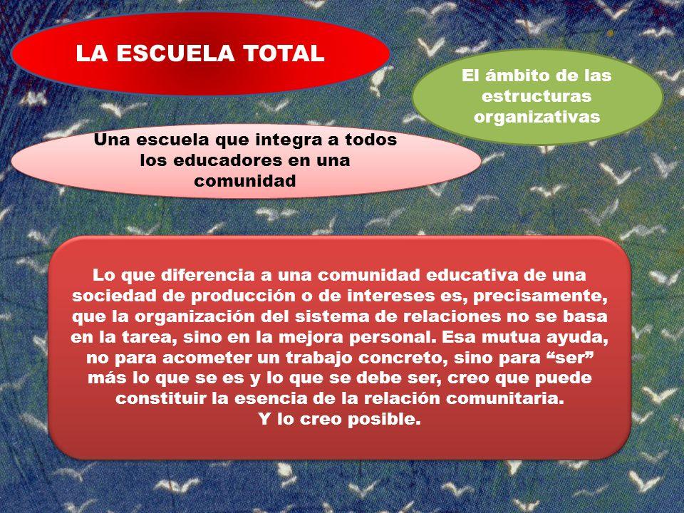 LA ESCUELA TOTAL El ámbito de las estructuras organizativas Una escuela que integra a todos los educadores en una comunidad Lo que diferencia a una co
