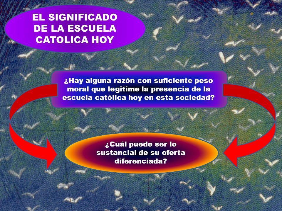 EL SIGNIFICADO DE LA ESCUELA CATOLICA HOY ¿Hay alguna razón con suficiente peso moral que legitime la presencia de la escuela católica hoy en esta soc