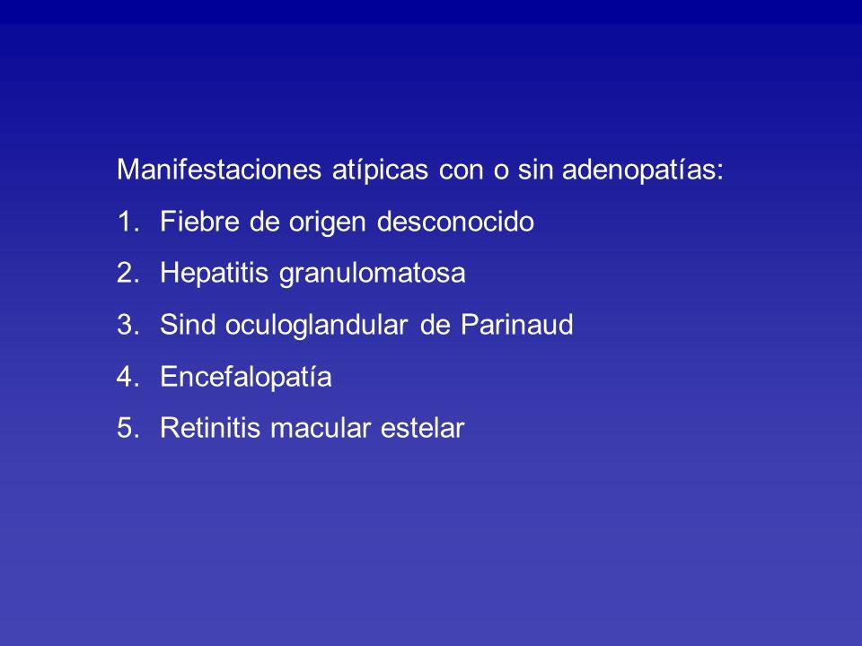 CAUSAS DE FOD EN NIÑOS IESN 2003 FIEBRE > 14 DIAS INFECCIOSAS: Fiebre Tifoidea y otras salmonelosis (12) Brucelosis (4), Enfermedad Arañazo de gato (3), Mononucleosis (3), EBV (3), OMA (2), Toxocariasis (2), Malaria (1), Paracoccidioidomicosis (1).
