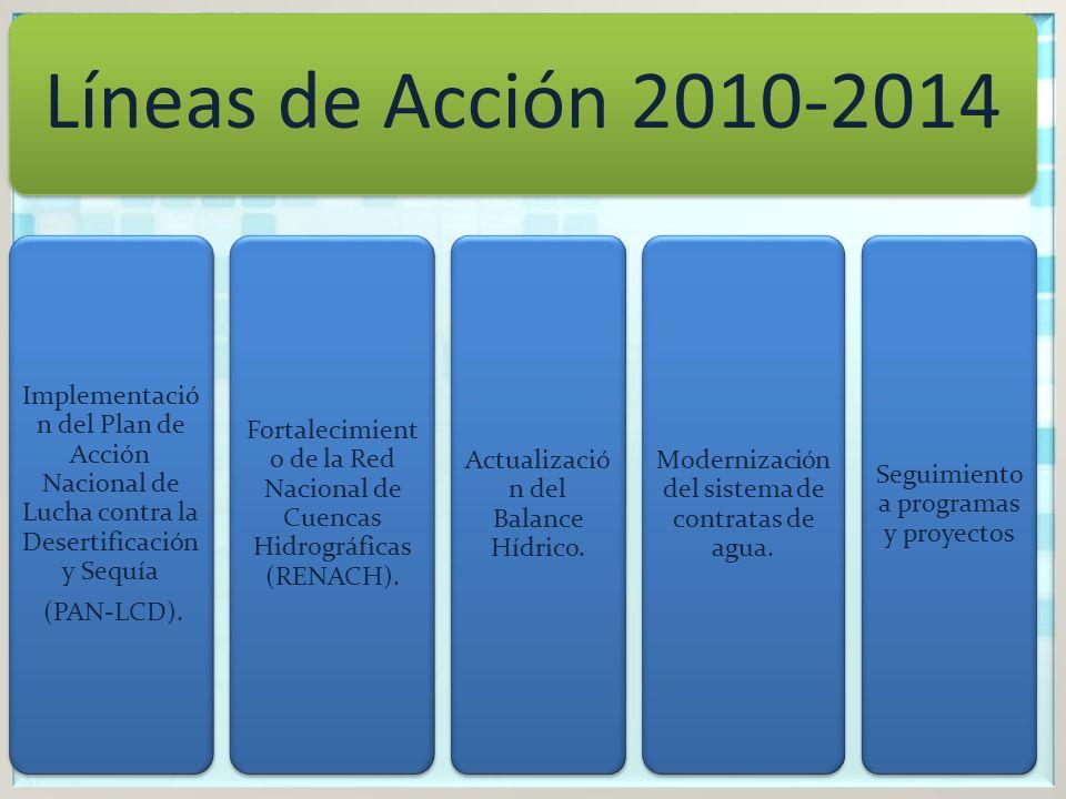 Líneas de Acción 2010-2014 Implementació n del Plan de Acción Nacional de Lucha contra la Desertificación y Sequía (PAN-LCD).