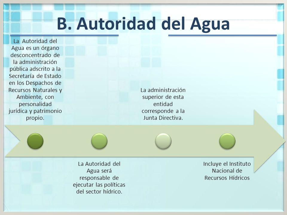 B. Autoridad del Agua La Autoridad del Agua es un órgano desconcentrado de la administración pública adscrito a la Secretaría de Estado en los Despach