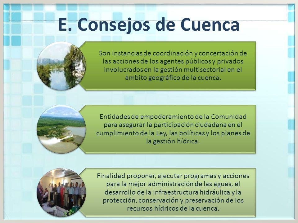 E. Consejos de Cuenca Son instancias de coordinación y concertación de las acciones de los agentes públicos y privados involucrados en la gestión mult