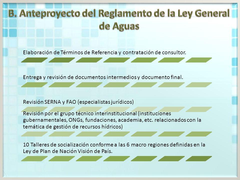 Elaboración de Términos de Referencia y contratación de consultor.