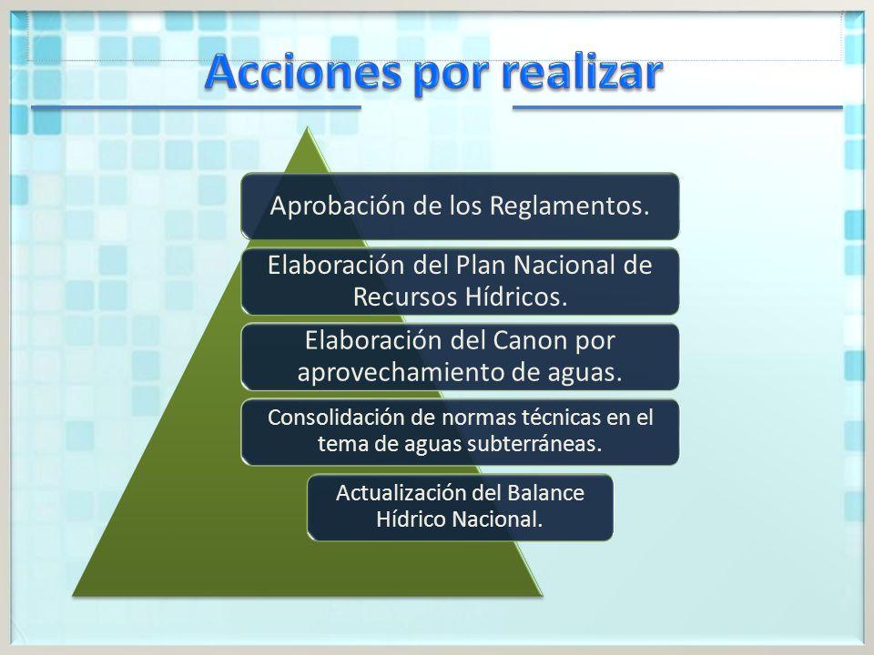 Aprobación de los Reglamentos.Elaboración del Plan Nacional de Recursos Hídricos.