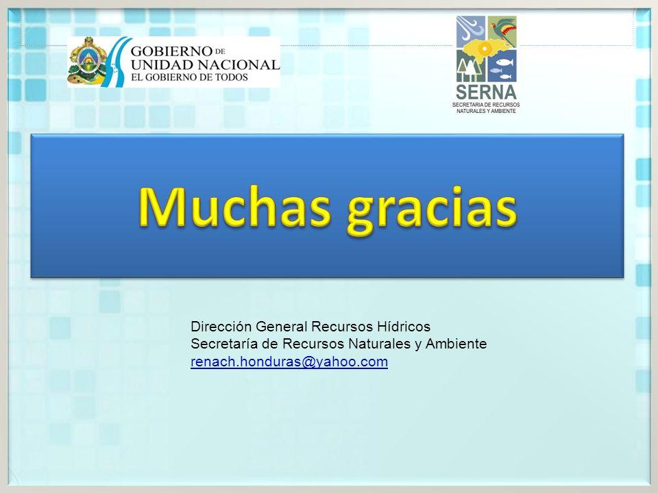 Dirección General Recursos Hídricos Secretaría de Recursos Naturales y Ambiente renach.honduras@yahoo.com