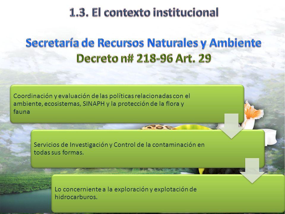 UPEG/SERNA Coordinación y evaluación de las políticas relacionadas con el ambiente, ecosistemas, SINAPH y la protección de la flora y fauna Servicios de Investigación y Control de la contaminación en todas sus formas.