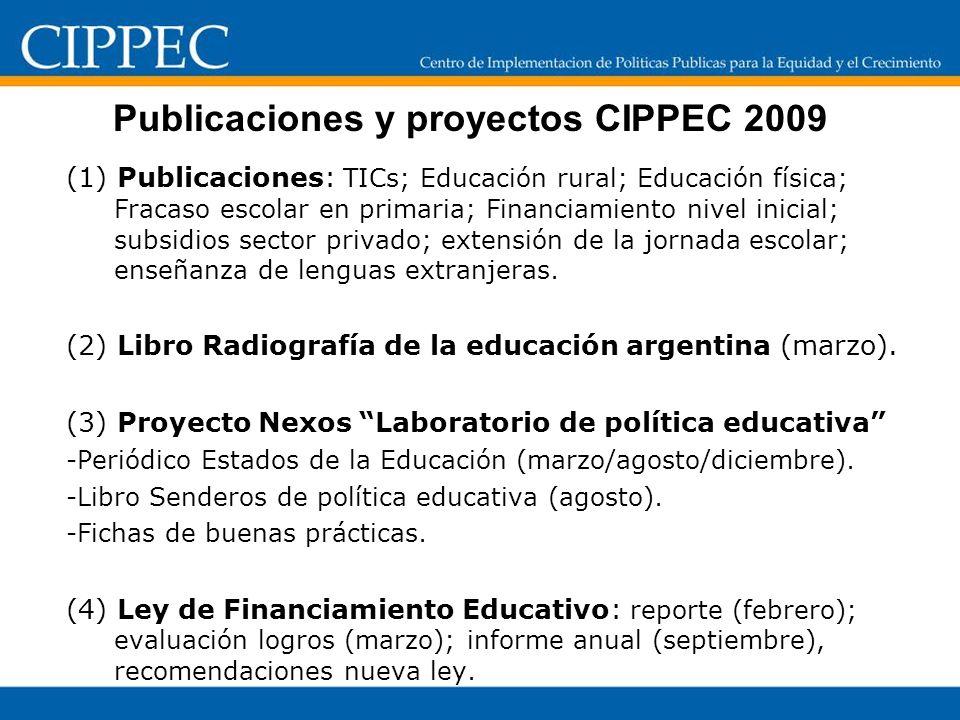 Publicaciones y proyectos CIPPEC 2009 (1) Publicaciones: TICs; Educación rural; Educación física; Fracaso escolar en primaria; Financiamiento nivel inicial; subsidios sector privado; extensión de la jornada escolar; enseñanza de lenguas extranjeras.