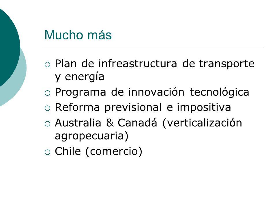 Mucho más Plan de infreastructura de transporte y energía Programa de innovación tecnológica Reforma previsional e impositiva Australia & Canadá (verticalización agropecuaria) Chile (comercio)