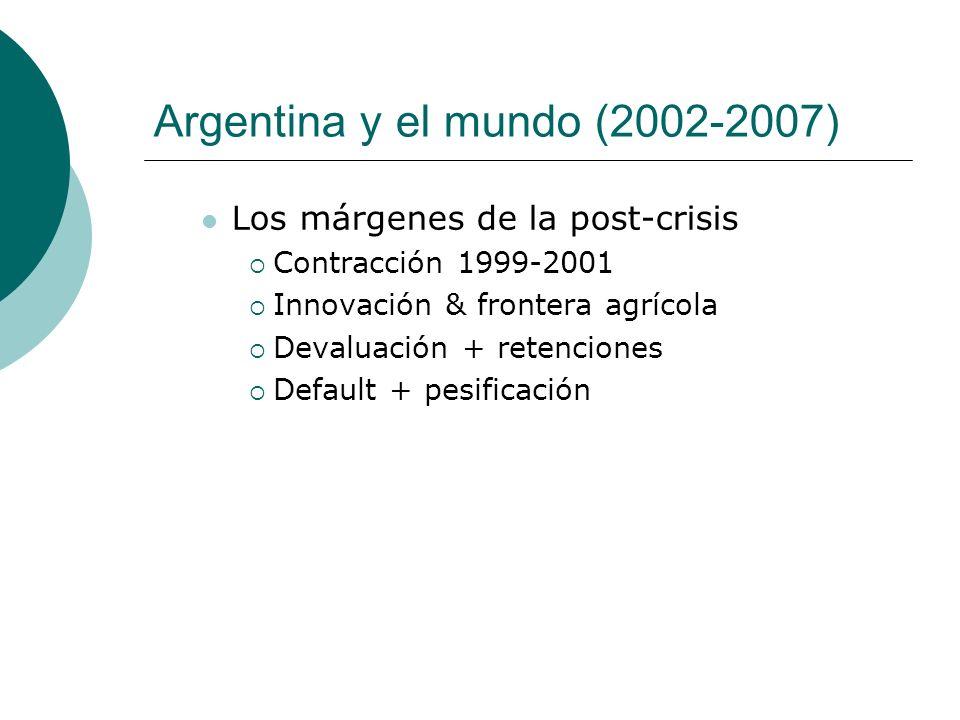 Argentina y el mundo (2002-2007) Los márgenes de la post-crisis Contracción 1999-2001 Innovación & frontera agrícola Devaluación + retenciones Default
