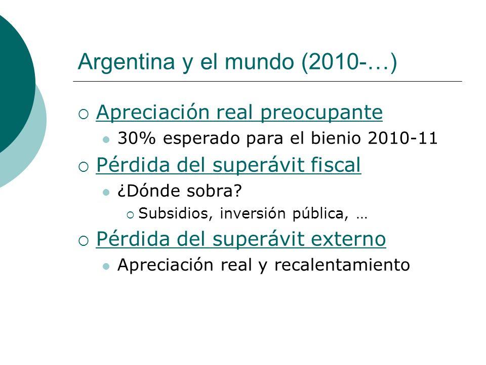Argentina y el mundo (2010-…) Apreciación real preocupante 30% esperado para el bienio 2010-11 Pérdida del superávit fiscal ¿Dónde sobra? Subsidios, i