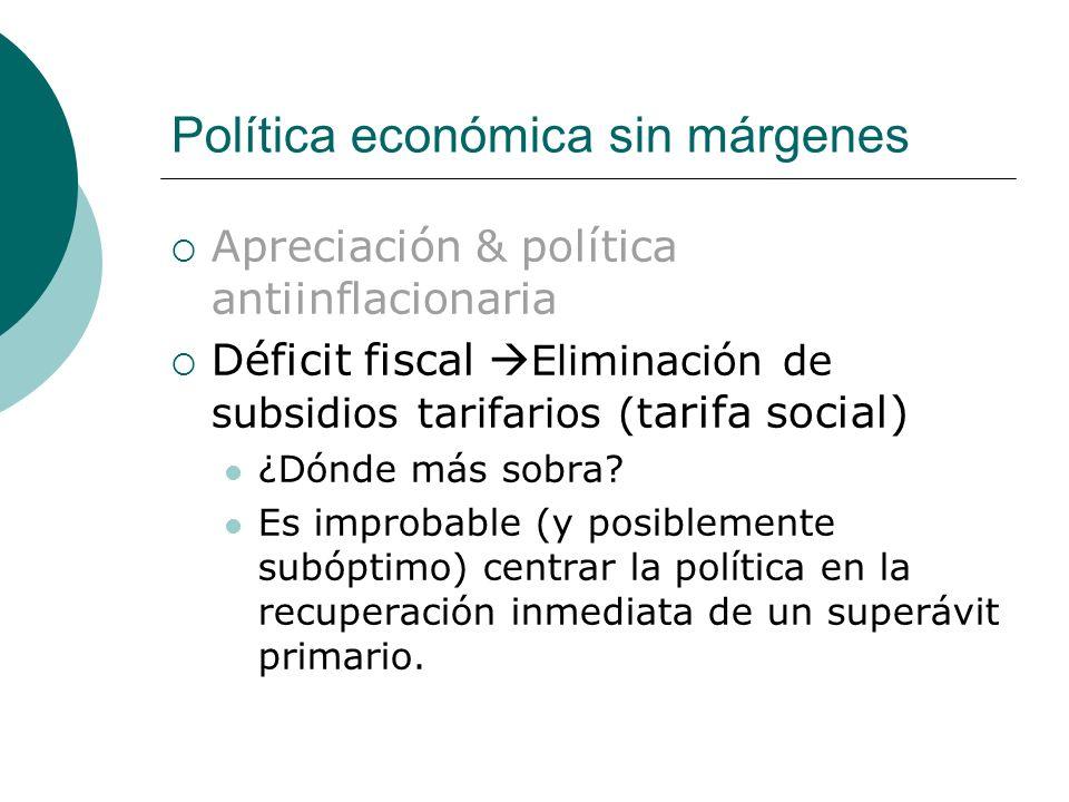 Política económica sin márgenes Apreciación & política antiinflacionaria Déficit fiscal Eliminación de subsidios tarifarios (t arifa social) ¿Dónde más sobra.