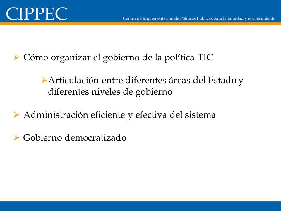 Cómo organizar el gobierno de la política TIC Articulación entre diferentes áreas del Estado y diferentes niveles de gobierno Administración eficiente y efectiva del sistema Gobierno democratizado