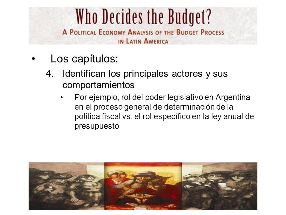 Los capítulos: 4.Identifican los principales actores y sus comportamientos Por ejemplo, rol del poder legislativo en Argentina en el proceso general de determinación de la política fiscal vs.