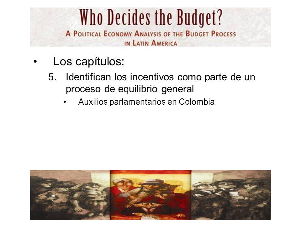 Los capítulos: 5.Identifican los incentivos como parte de un proceso de equilibrio general Auxilios parlamentarios en Colombia