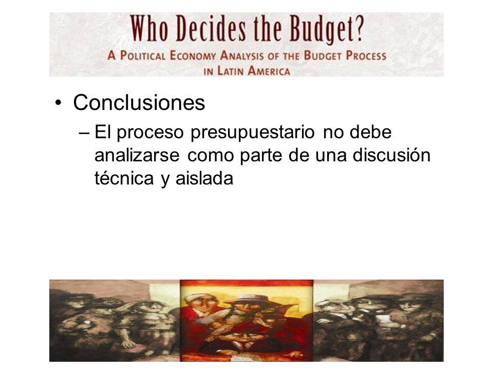 Conclusiones –El proceso presupuestario no debe analizarse como parte de una discusión técnica y aislada
