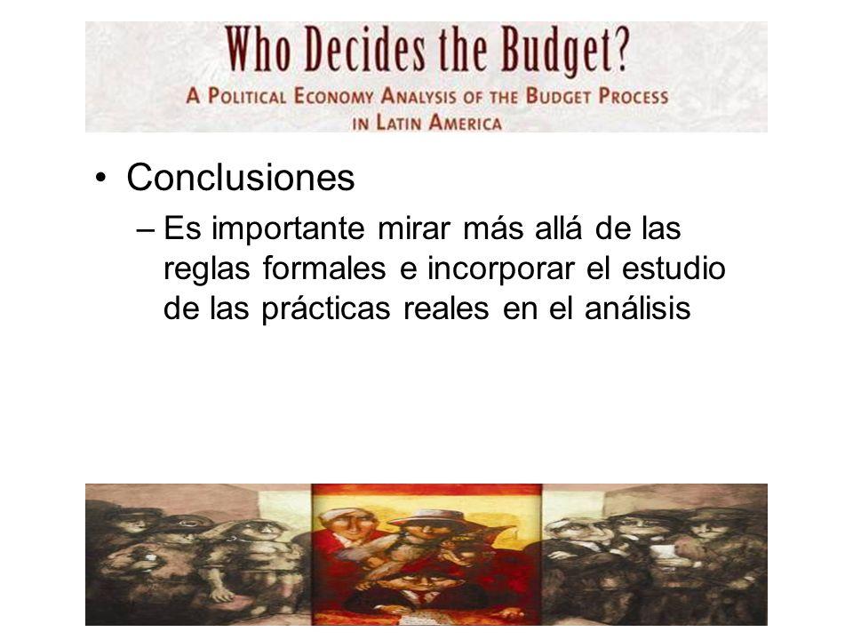 Conclusiones –Es importante mirar más allá de las reglas formales e incorporar el estudio de las prácticas reales en el análisis