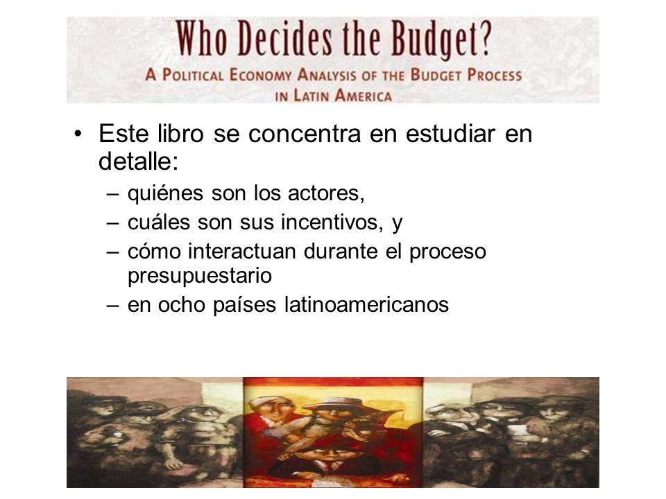 Este libro se concentra en estudiar en detalle: –quiénes son los actores, –cuáles son sus incentivos, y –cómo interactuan durante el proceso presupuestario –en ocho países latinoamericanos