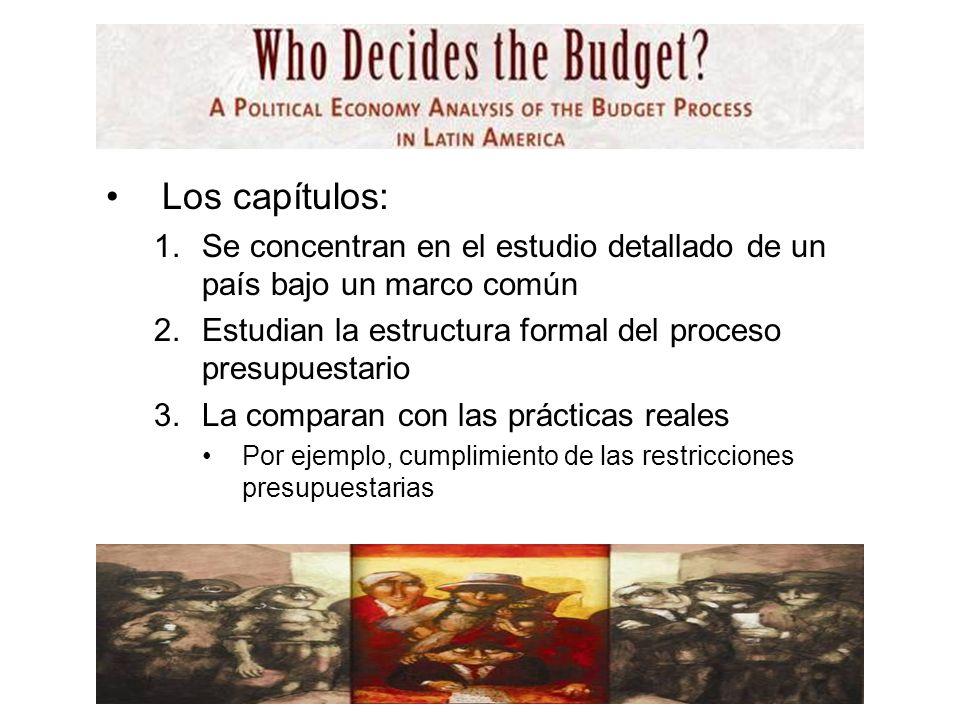 Los capítulos: 1.Se concentran en el estudio detallado de un país bajo un marco común 2.Estudian la estructura formal del proceso presupuestario 3.La comparan con las prácticas reales Por ejemplo, cumplimiento de las restricciones presupuestarias