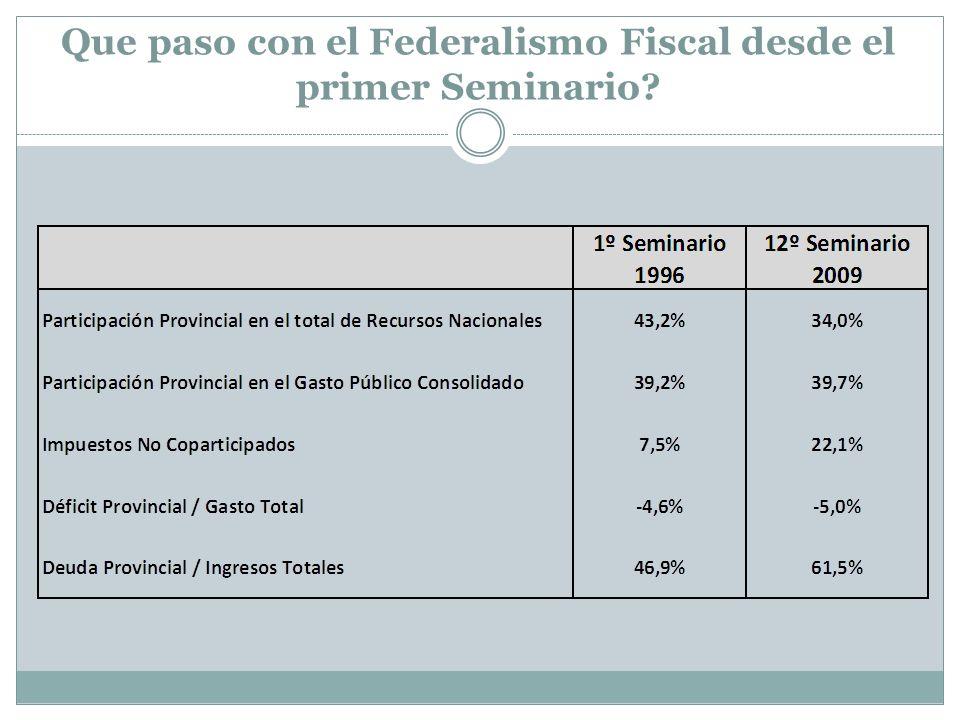 Que paso con el Federalismo Fiscal desde el primer Seminario