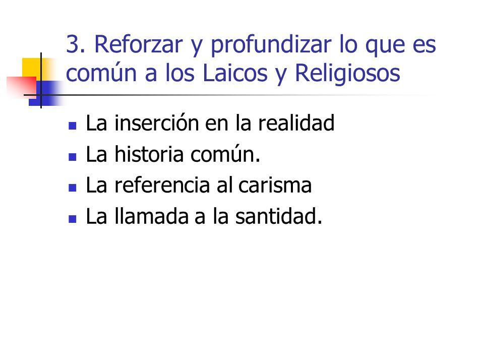 3. Reforzar y profundizar lo que es común a los Laicos y Religiosos La inserción en la realidad La historia común. La referencia al carisma La llamada