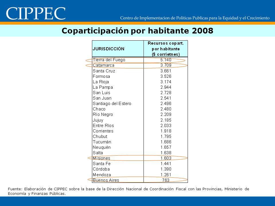 Coparticipación por habitante 2008 Fuente: Elaboración de CIPPEC sobre la base de la Dirección Nacional de Coordinación Fiscal con las Provincias, Min