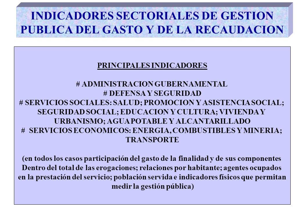 INDICADORES SECTORIALES DE GESTION PUBLICA DEL GASTO Y DE LA RECAUDACION PRINCIPALES INDICADORES # ADMINISTRACION GUBERNAMENTAL # DEFENSA Y SEGURIDAD # SERVICIOS SOCIALES: SALUD; PROMOCION Y ASISTENCIA SOCIAL; SEGURIDAD SOCIAL; EDUCACION Y CULTURA; VIVIENDA Y URBANISMO; AGUA POTABLE Y ALCANTARILLADO # SERVICIOS ECONOMICOS: ENERGIA, COMBUSTIBLES Y MINERIA; TRANSPORTE (en todos los casos participación del gasto de la finalidad y de sus componentes Dentro del total de las erogaciones; relaciones por habitante; agentes ocupados en la prestación del servicio; población servida e indicadores físicos que permitan medir la gestión pública)