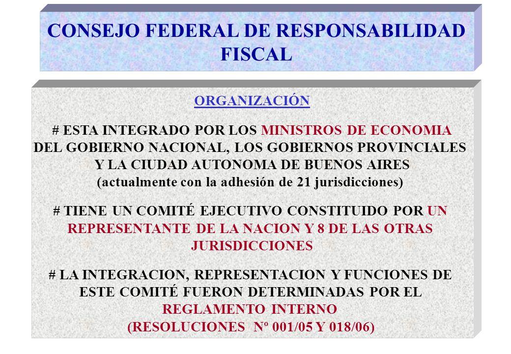 CONSEJO FEDERAL DE RESPONSABILIDAD FISCAL ORGANIZACIÓN # ESTA INTEGRADO POR LOS MINISTROS DE ECONOMIA DEL GOBIERNO NACIONAL, LOS GOBIERNOS PROVINCIALES Y LA CIUDAD AUTONOMA DE BUENOS AIRES (actualmente con la adhesión de 21 jurisdicciones) # TIENE UN COMITÉ EJECUTIVO CONSTITUIDO POR UN REPRESENTANTE DE LA NACION Y 8 DE LAS OTRAS JURISDICCIONES # LA INTEGRACION, REPRESENTACION Y FUNCIONES DE ESTE COMITÉ FUERON DETERMINADAS POR EL REGLAMENTO INTERNO (RESOLUCIONES Nº 001/05 Y 018/06)