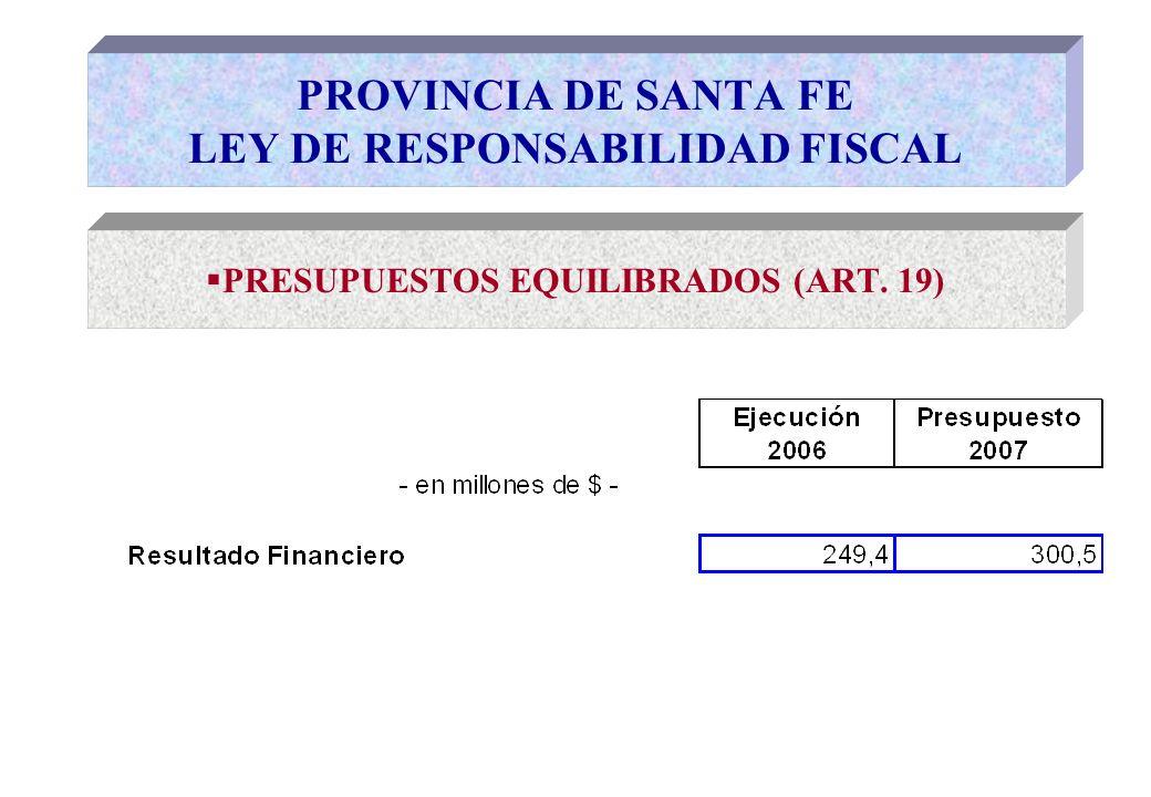PRESUPUESTOS EQUILIBRADOS (ART. 19) PROVINCIA DE SANTA FE LEY DE RESPONSABILIDAD FISCAL