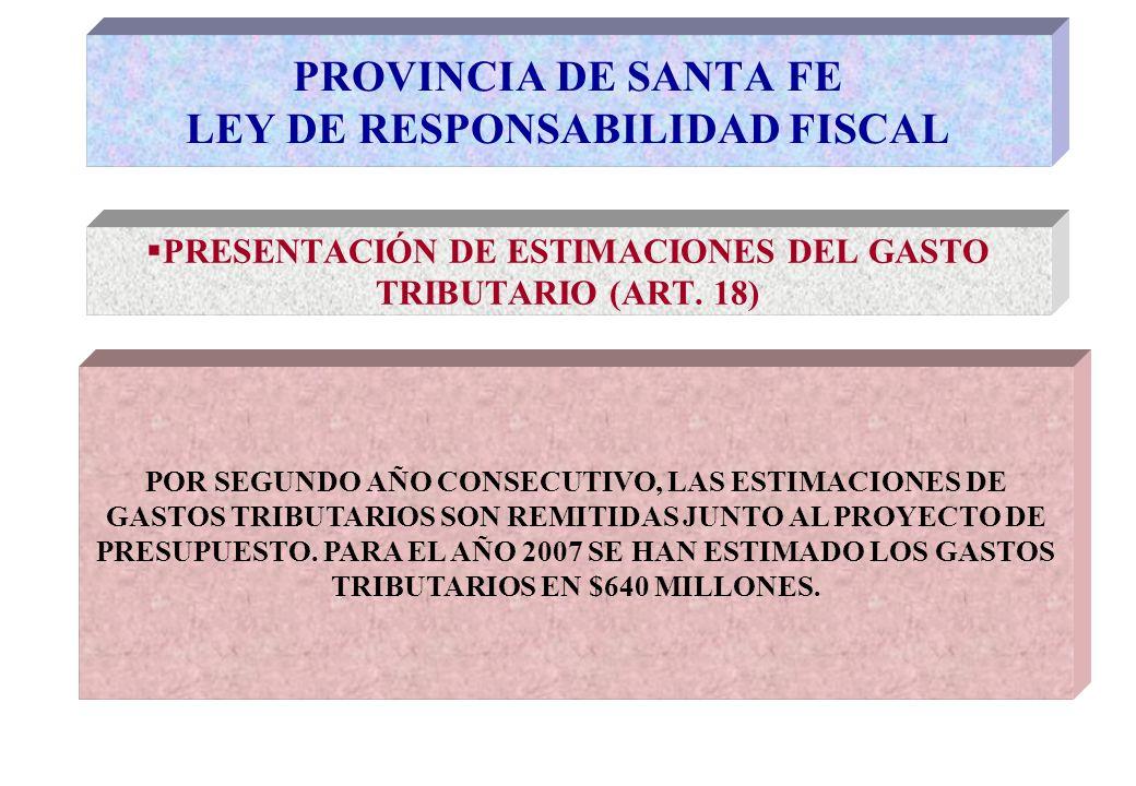 PRESENTACIÓN DE ESTIMACIONES DEL GASTO TRIBUTARIO (ART.