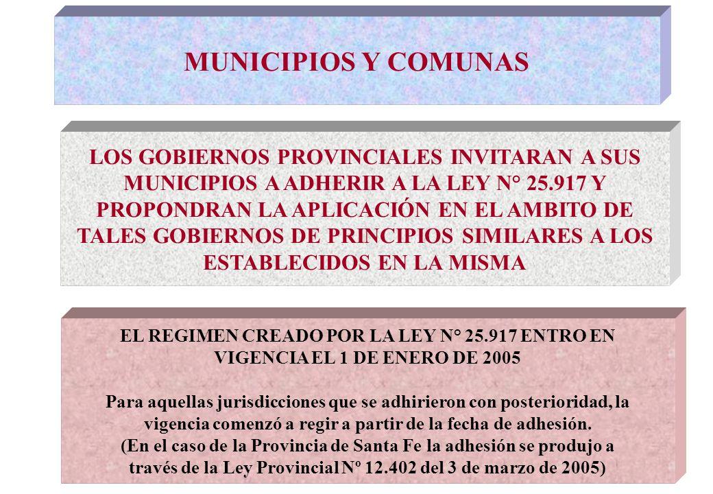 MUNICIPIOS Y COMUNAS LOS GOBIERNOS PROVINCIALES INVITARAN A SUS MUNICIPIOS A ADHERIR A LA LEY N° 25.917 Y PROPONDRAN LA APLICACIÓN EN EL AMBITO DE TALES GOBIERNOS DE PRINCIPIOS SIMILARES A LOS ESTABLECIDOS EN LA MISMA EL REGIMEN CREADO POR LA LEY N° 25.917 ENTRO EN VIGENCIA EL 1 DE ENERO DE 2005 Para aquellas jurisdicciones que se adhirieron con posterioridad, la vigencia comenzó a regir a partir de la fecha de adhesión.