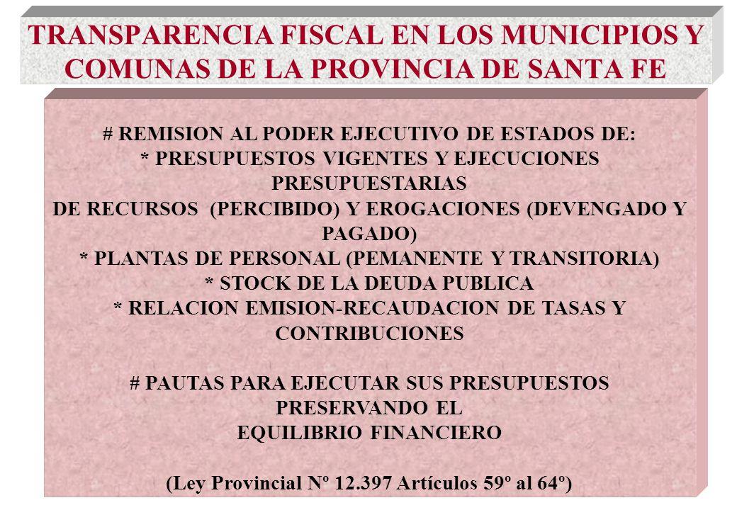 TRANSPARENCIA FISCAL EN LOS MUNICIPIOS Y COMUNAS DE LA PROVINCIA DE SANTA FE # REMISION AL PODER EJECUTIVO DE ESTADOS DE: * PRESUPUESTOS VIGENTES Y EJECUCIONES PRESUPUESTARIAS DE RECURSOS (PERCIBIDO) Y EROGACIONES (DEVENGADO Y PAGADO) * PLANTAS DE PERSONAL (PEMANENTE Y TRANSITORIA) * STOCK DE LA DEUDA PUBLICA * RELACION EMISION-RECAUDACION DE TASAS Y CONTRIBUCIONES # PAUTAS PARA EJECUTAR SUS PRESUPUESTOS PRESERVANDO EL EQUILIBRIO FINANCIERO (Ley Provincial Nº 12.397 Artículos 59º al 64º)