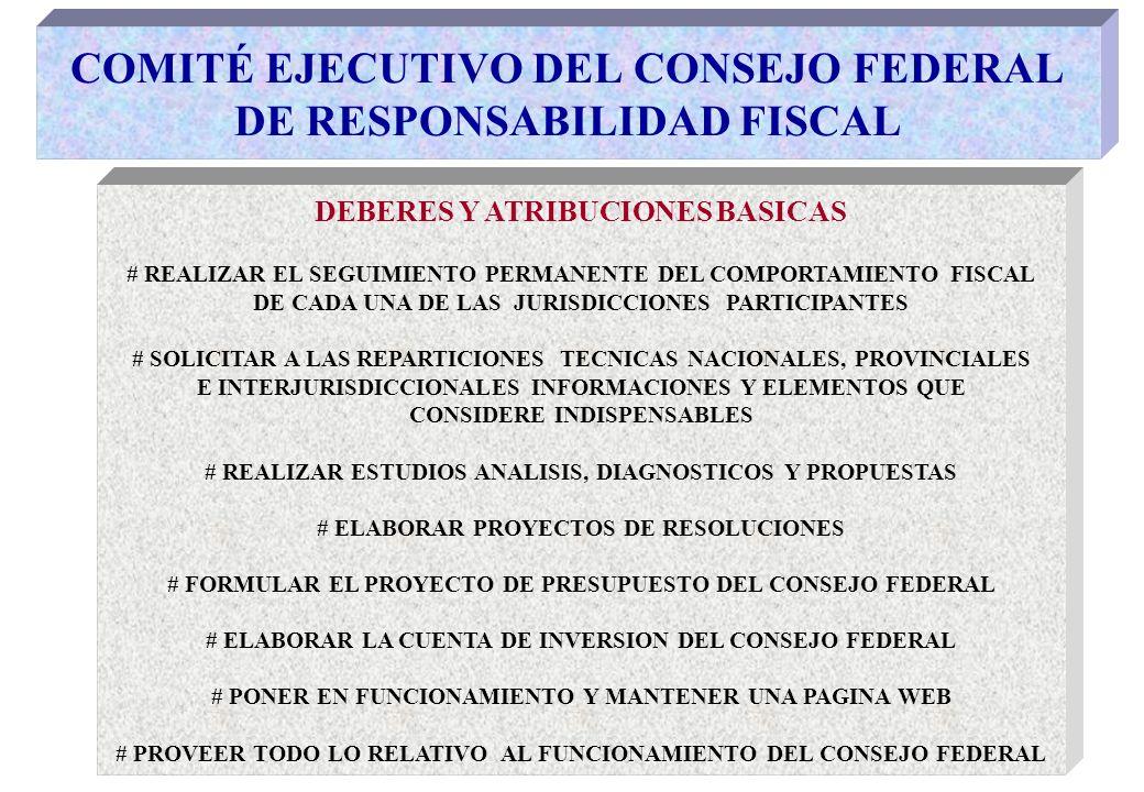 COMITÉ EJECUTIVO DEL CONSEJO FEDERAL DE RESPONSABILIDAD FISCAL DEBERES Y ATRIBUCIONES BASICAS # REALIZAR EL SEGUIMIENTO PERMANENTE DEL COMPORTAMIENTO FISCAL DE CADA UNA DE LAS JURISDICCIONES PARTICIPANTES # SOLICITAR A LAS REPARTICIONES TECNICAS NACIONALES, PROVINCIALES E INTERJURISDICCIONALES INFORMACIONES Y ELEMENTOS QUE CONSIDERE INDISPENSABLES # REALIZAR ESTUDIOS ANALISIS, DIAGNOSTICOS Y PROPUESTAS # ELABORAR PROYECTOS DE RESOLUCIONES # FORMULAR EL PROYECTO DE PRESUPUESTO DEL CONSEJO FEDERAL # ELABORAR LA CUENTA DE INVERSION DEL CONSEJO FEDERAL # PONER EN FUNCIONAMIENTO Y MANTENER UNA PAGINA WEB # PROVEER TODO LO RELATIVO AL FUNCIONAMIENTO DEL CONSEJO FEDERAL