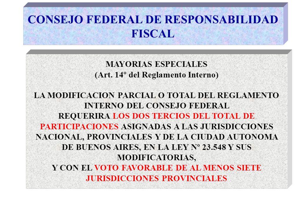CONSEJO FEDERAL DE RESPONSABILIDAD FISCAL MAYORIAS ESPECIALES (Art.