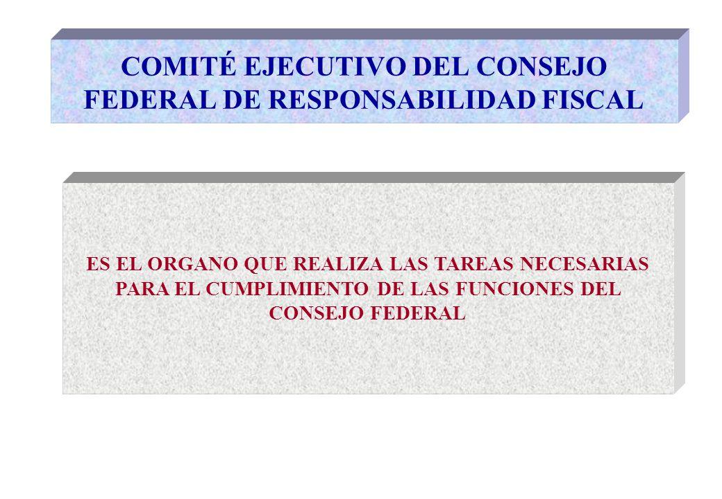 CONFORMACION DEL COMITÉ EJECUTIVO # UN REPRESENTANTE DEL GOBIERNO FEDERAL EN FORMA PERMANENTE # OCHO REPRESENTANTES DE LAS RESTANTES JURISDICCIONES EN FORMA ROTATIVA Y POR ORDEN DE ADHESION (durante un año fiscal) REPRESENTANTES JURISDICCIONALES: DOS POR CADA UNO DE LOS SIGUIENTES GRUPOS (Art.