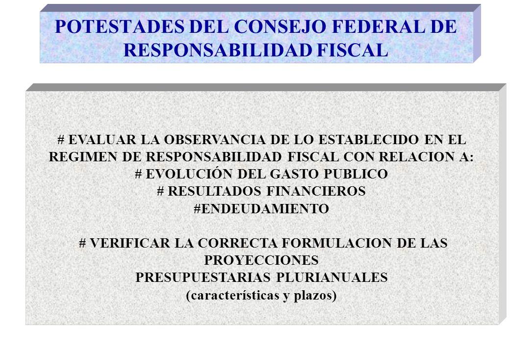 POTESTADES DEL CONSEJO FEDERAL DE RESPONSABILIDAD FISCAL # APROBAR LOS CONVERSORES PRESUPUESTARIOS Y LOS PARAMETROS E INDICADORES HOMOGENEOS DE GESTION PUBLICA #EFECTUAR EL SEGUIMIENTO PERMANENTE ACERCA DEL CUMPLIMIENTO DEL COMPROMISO DE DIVULGACION DE LA INFORMACION FISCAL # APLICAR SANCIONES EN EL CASO DE INCUMPLIMIENTO (Síntesis de las funciones asignadas por Reglamento Interno aprobado por Resolución Nº 001/05)