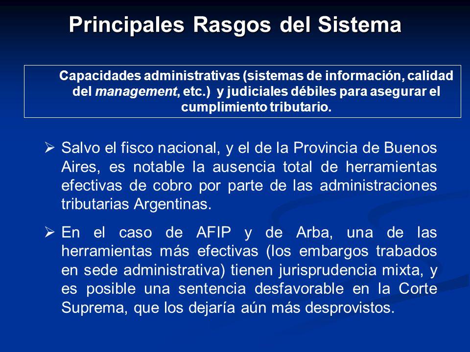 Principales Rasgos del Sistema Capacidades administrativas (sistemas de información, calidad del management, etc.) y judiciales débiles para asegurar