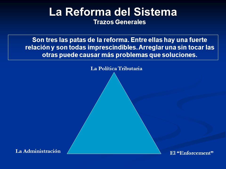 La Reforma del Sistema Trazos Generales Son tres las patas de la reforma. Entre ellas hay una fuerte relación y son todas imprescindibles. Arreglar un
