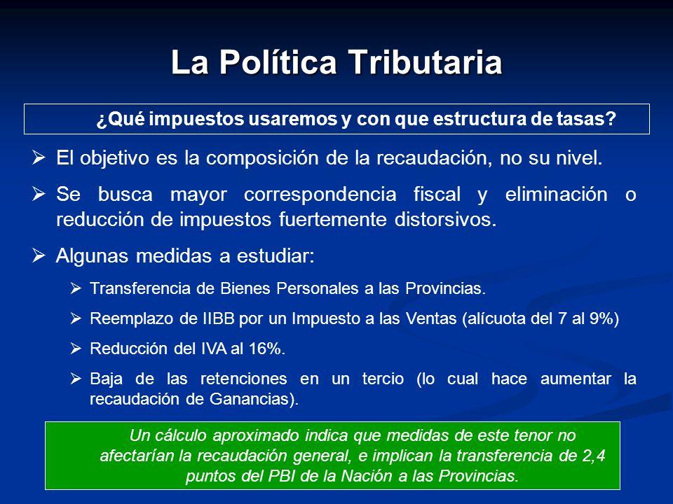 La Política Tributaria ¿Qué impuestos usaremos y con que estructura de tasas? El objetivo es la composición de la recaudación, no su nivel. Se busca m