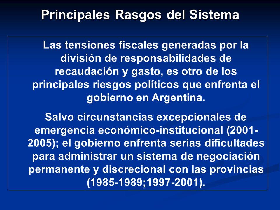 Principales Rasgos del Sistema Las tensiones fiscales generadas por la división de responsabilidades de recaudación y gasto, es otro de los principales riesgos políticos que enfrenta el gobierno en Argentina.