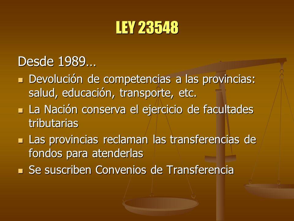 LEY 23548 Desde 1989… Devolución de competencias a las provincias: salud, educación, transporte, etc. Devolución de competencias a las provincias: sal