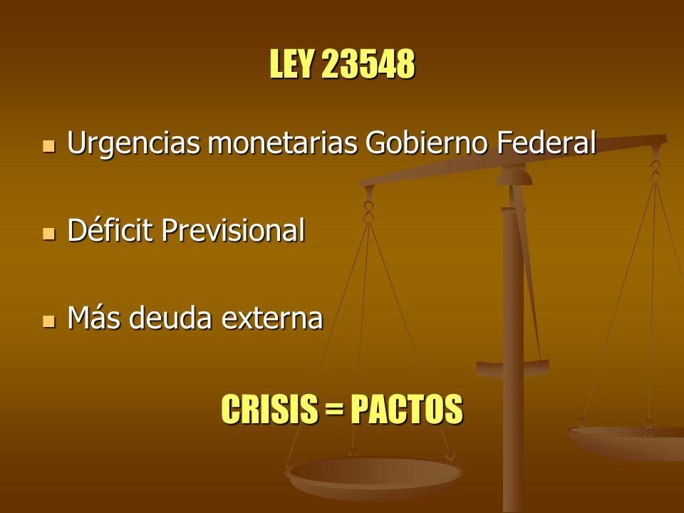 LEY 23548 Urgencias monetarias Gobierno Federal Urgencias monetarias Gobierno Federal Déficit Previsional Déficit Previsional Más deuda externa Más de