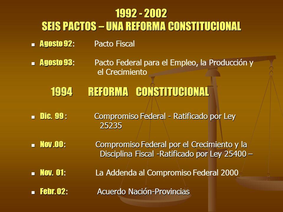 1992 - 2002 SEIS PACTOS – UNA REFORMA CONSTITUCIONAL Agosto 92 Agosto 92 : Pacto Fiscal Agosto 93 Agosto 93 : Pacto Federal para el Empleo, la Producc