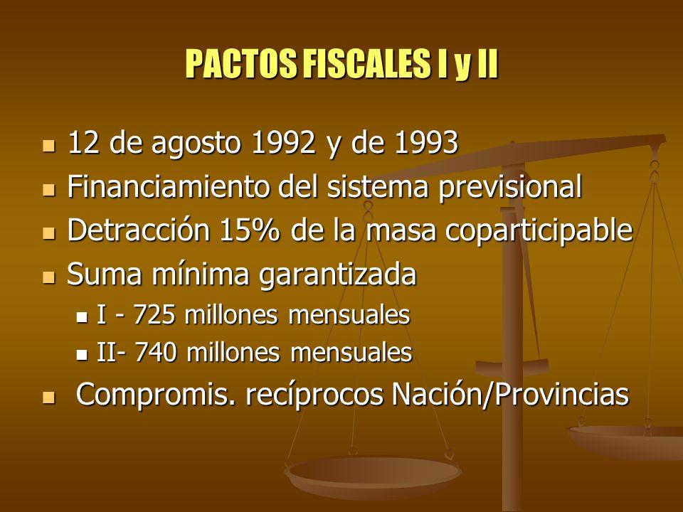 PACTOS FISCALES I y II 12 de agosto 1992 y de 1993 12 de agosto 1992 y de 1993 Financiamiento del sistema previsional Financiamiento del sistema previ