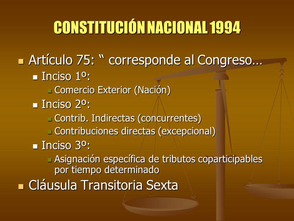 CONSTITUCIÓN NACIONAL 1994 Artículo 75: corresponde al Congreso… Artículo 75: corresponde al Congreso… Inciso 1º: Inciso 1º: Comercio Exterior (Nación